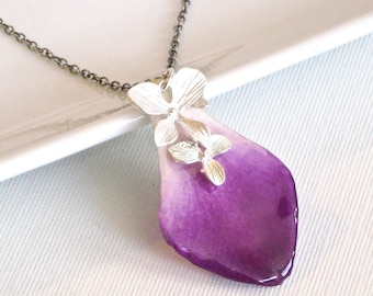 Real Orchid Petal Necklace - Purple, Sterling Silver, Real Flower Jewelry, Nature Jewelry