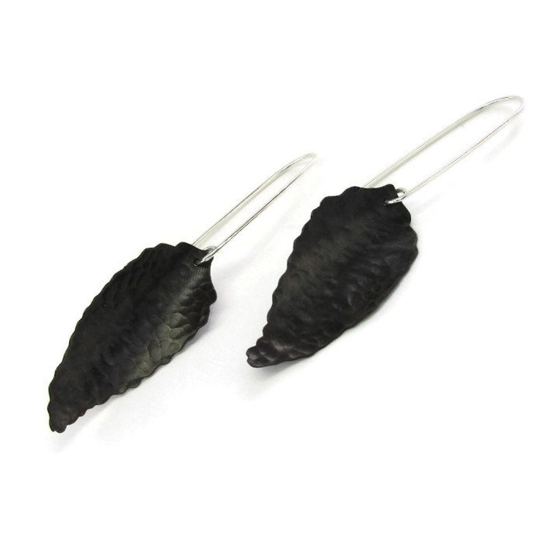 f7cb32d8fc3b3 Leaf Earrings - Copper Earrings - Forest Jewelry - Black Leaf Earrings -  Sweet Chestnut Jewelry - Silver Leaf Earrings - Modern Earrings