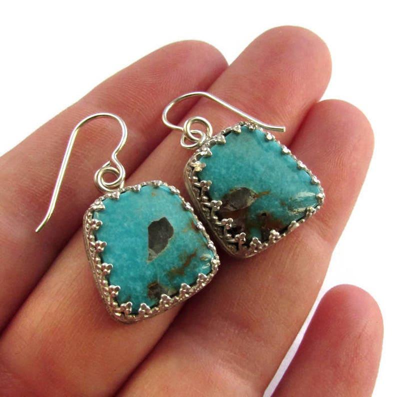 Turquoise Dangle Earrings Ocean Blue Earrings Compass Turquoise Boho Turquoise Earrings Bohemian Jewelry Silver Drop Earrings