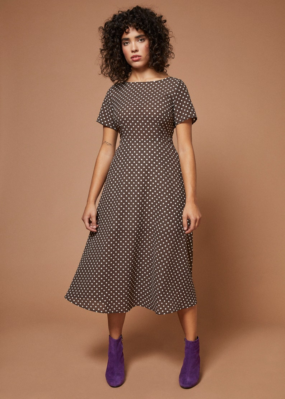 brown and cream polkadot midi dress