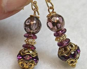 Vintage Amethyst Purple Swarovski Crystal Pave Gold Bead Earrings,Vintage Purple Cathedral Glass Beads,Bali 24K Gold Vermeil Ear Wires/Beads
