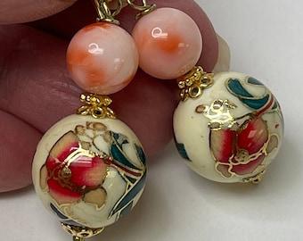 Vintage Angel Skin Coral Bead Earrings,Vintage Japanese Cream Tensha Red Coral Flowers Blue Butterflies, Bali 14K Gold Vermeil Ear Wires