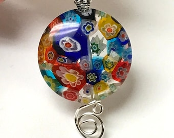 Vintage Chinese MILLEFIORI GLASS OOAK Fan Light Pull Blue Yellow Red Orange Clear Large Bead ,Vintage Silver Bead, Silver Bead Cap