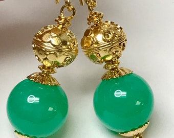 Vintage Brass Plated Teardrop Dangle,Vintage Gold Beads Vintage RED ROSE Japanese TENSHA Flower Green Bead Fan Light Pull