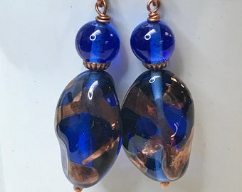 Vintage Japanese GOLD FOIL COBALT Blue Baroque Glass Bead Swirl Dangle Earrings, Bali 24k Gold vermeil ear wires, Bali bead caps