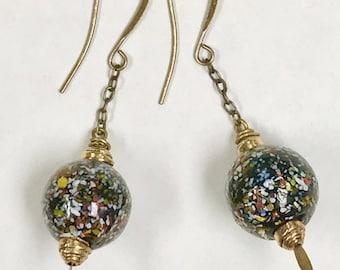 Vintage AFRICAN KROBO Powder Ghana GLASS Black Red White Yellow Speckles Handmade Bead Dangle Earrings,Brass Chain,Brass Beads,Ear Wires