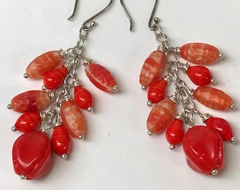 Vintage Japanese GLASS RED ORANGE Pod Bead Cluster Dangle Earrings,Vintage German Red Glass Beads,Silver Chain, Bali Silver Ear Wires