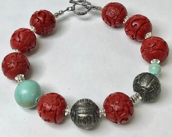Antique Chinese Qing Silver Bead OOAK Bracelet,Vintage Chinese Red Cinnabar Beads,Vintage Chinese Turquoise,Bali Sterling Silver Clasp