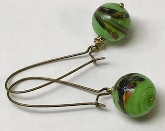 Vintage Japanese MILLEFIORI Tonbodama LIME GREEN Glass Black Red Handmade Bead Earrings Dangle Drop, Antiqued Brass Long Kidney Ear Wires