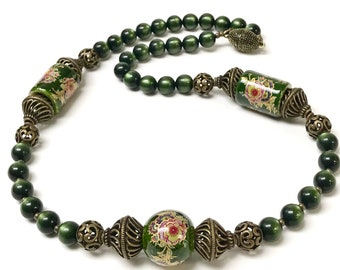 Vintage Jade Green MOONGLOW Lucite Bead Necklace,Vintage Japanese Tensha Beads,Vintage Antiqued Brass Beads,Antiqued Brass Magnetic Clasp