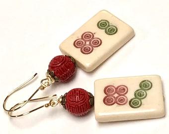Vintage Chinese MAJONG BONE Spiral TILE Earrings Dangle Green Red Bead  ,Vintage Chinese Red Cinnabar, Bali Handmade Gold Vermeil Ear Wires