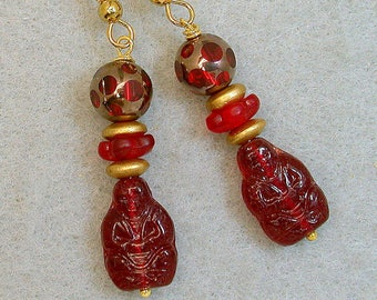 Vintage Buddha Red German Pressed Glass Bead Dangle Drop Earrings ,Vintage Red Gold Cathedral Glass,Vintage German Gold Glass Beads