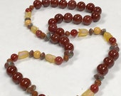 Vintage Carnelian Hand Knotted Bead Necklace,Vintage Chinese Abacus Cloisonne ,Vintage Chinese Jade, Vintage Japanese Yellow Lucite Flowers
