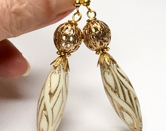 Vintage ROCOCO LUCITE White GOLD Ornate Bead Dangle Drop Earrings ,Vintage Gold Plated Filigree Bead,Vintage Gold Bead Caps, Gold Ear Wires