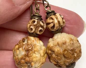 Vintage BUDDHA LOHAN Serpentine Amber Golden Brown Bead Dangle Earrings,Vintage Chinese Carved Pierced Ox Bone Bead,Antiqued Brass Ear Wires