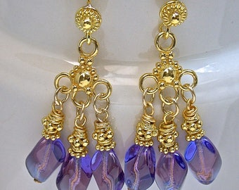Vintage Cobalt BLUE PURPLE German Glass Oval Twist Cluster Dangle Earrings, Bali 24k Gold Vermeil Beads, Ear Wires