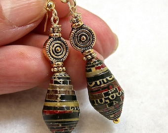 Vintage AFRICAN PAPER HANDMADE Recycled Red Black Beads, Gold Plated Pewter Beads,Gold Plated French Ear Wires