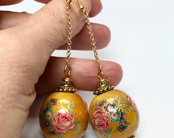 Vintage Japanese YELLOW TENSHA Wood Pink Blue Flowers Bead Long Dangle Earrings,Gold Plated Long Chain,Gold Bead Caps + Ear Wires