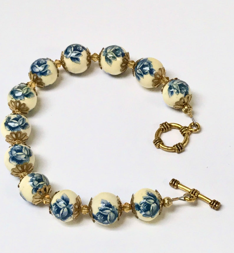 Vintage Japanese PORCELAIN TENSHA Blue Rose Bead Bracelet,Vintage Yellow Crystal Gold Plated Toggle Clasp Matched Jewelry Set