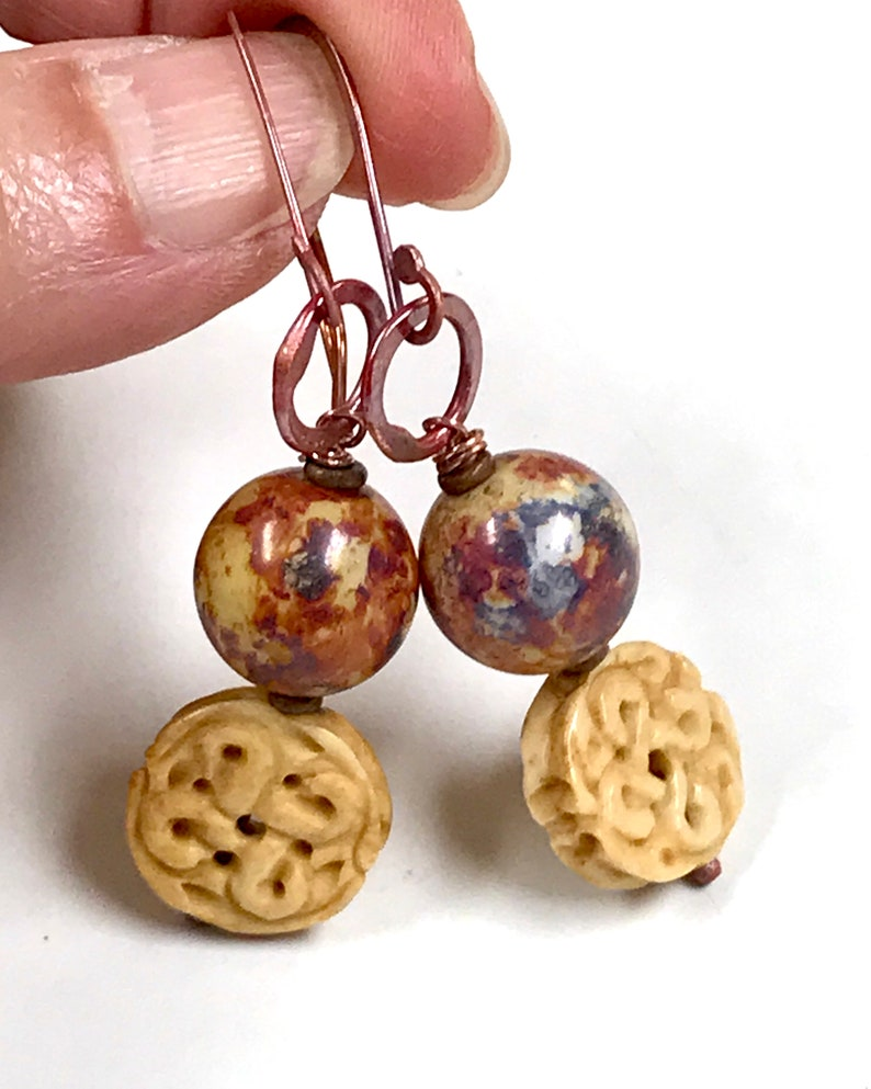 Vintage Chinese CARVED BONE KNOT Bead Dangle Earrings,Vintage German Blue Purple Picasso Glass Bead,Handmade Rose Copper Ear Wires And Hoops