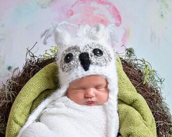 Baby Boys Owl Hat Newborn 0 3m Fuzzy White Gray Crochet SOFT Sale Photo Prop Clothes Boys Girls Gender Neutral Winter Year Round