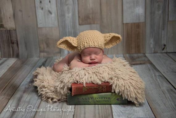 Elf Mütze Dobby Hut Größe Neugeborene 0 3m 6m Häkeln Foto Prop Etsy