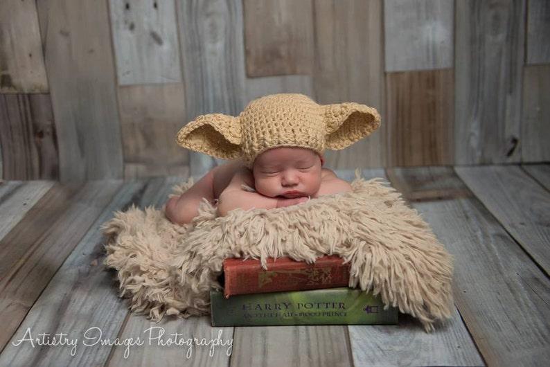 1c945a2143e Baby Elf Hat Dobby Hat Size Newborn 0 3m 6m Crochet Photo