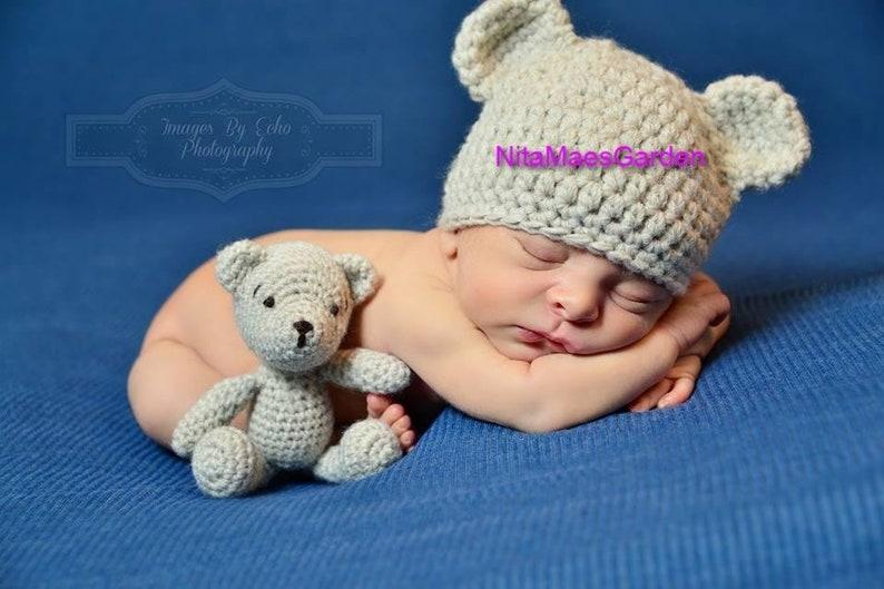 1717e5280ce Cream Bear Baby HAT Preemie Newborn 0 3m 6m Crochet Photo Prop