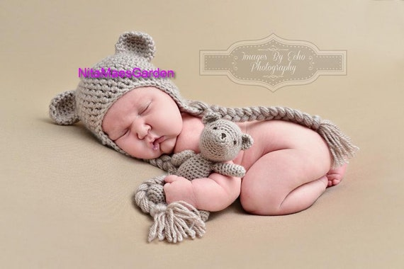 Hand Crochet Knitted Baby Hat Teddy Bear Chunky Photo Prop Girl  Newborn-12M