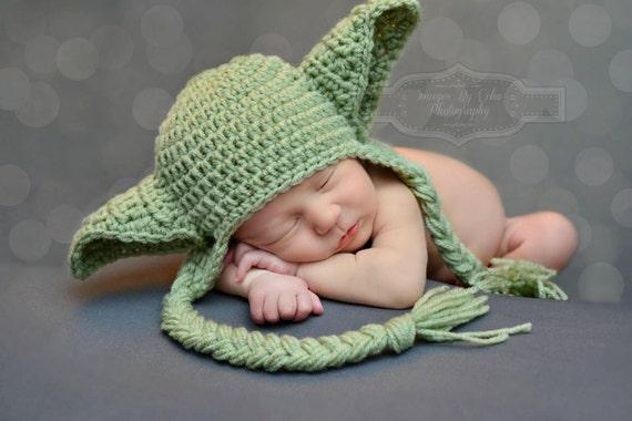Winter Star Wars Baby Hat Yoda Hat Earflaps Newborn 0 3m 6m  7b89217a0ff