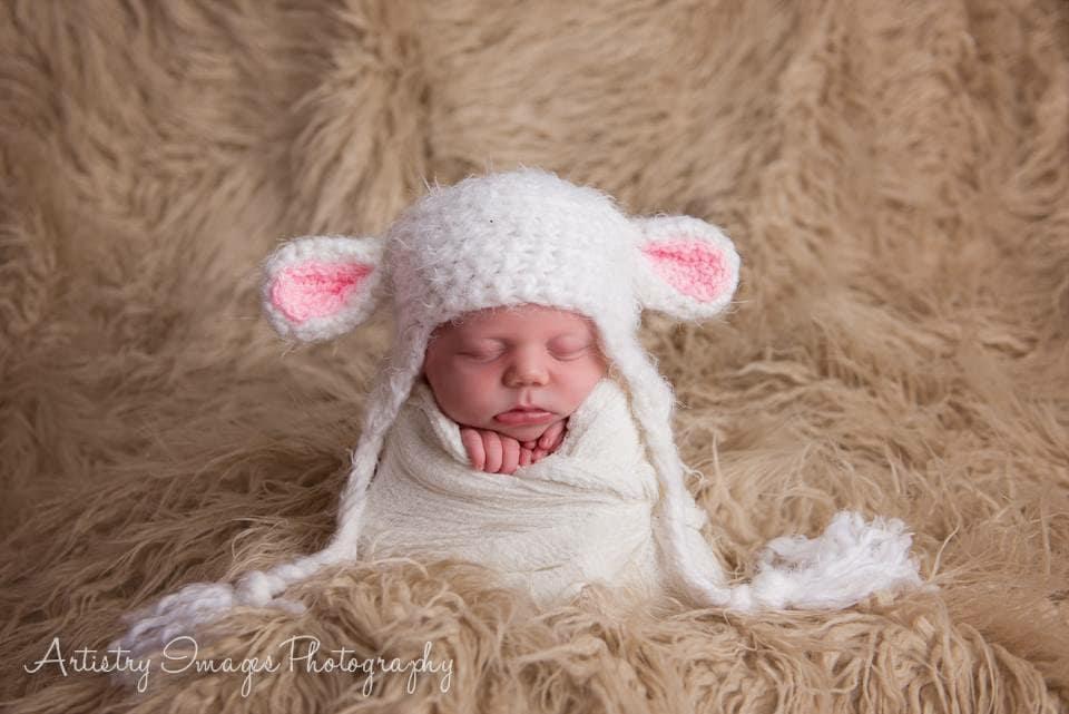 Baby Lamb Sheep Hat Preemie Newborn 0 3m 6m Halloween Costume  78ab8bcdfea5