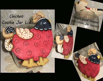 Whimsy Chickens,Whimsy Kitchen Gifts,Cookie Jar Lids,Table Decor,Painted Chickens,Country Chickens,Kitchen Gifts,Housewarming Gifts