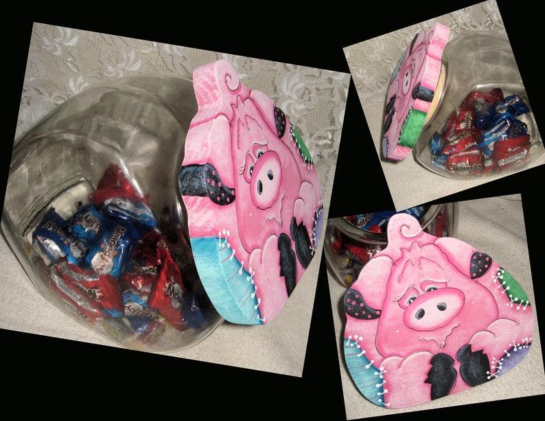 Cookie jar Lid Pig Lid Candy Jar Lid image 0