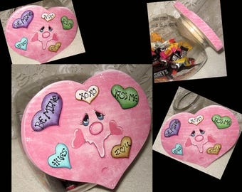 Cookie Jar Lid, Painted Gifts,Candy Jar Lids,Valentines Day Gifts,Housewarming Gifts,Gift For Her,Wood Hearts,Candy Hearts,Handmade Gifts