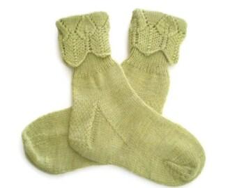 Socks - Hand Knit Women's Green Tea Socks with Lace Cuff - Size 5-6 - Casual Socks