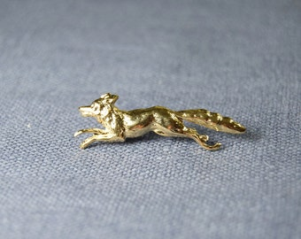 Gold Fox Lapel Pin Brooch