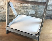 Rustic White Enameled Tray with Holder Stand