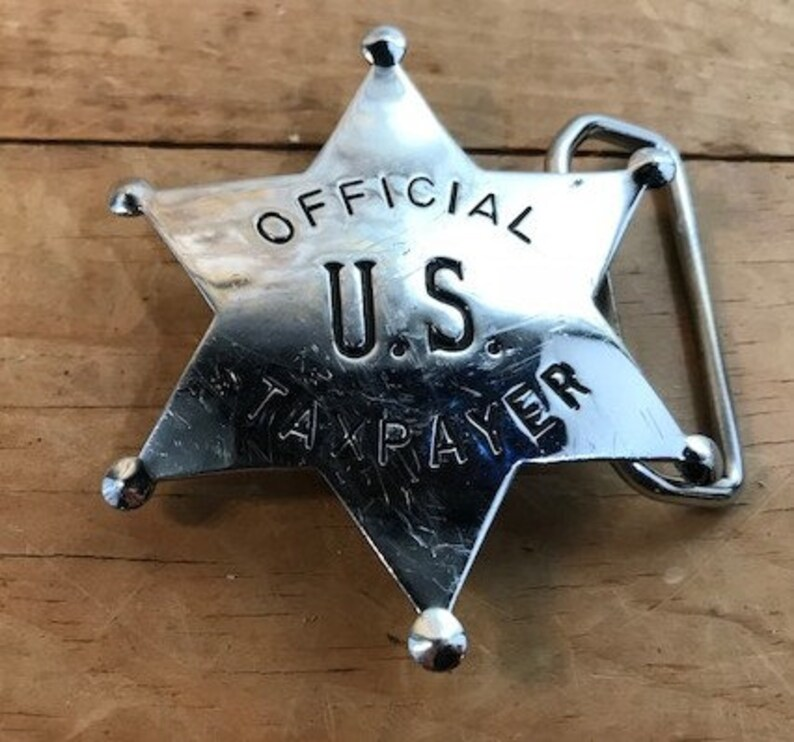 Vintage Star Official US Tax Payer Belt Buckle