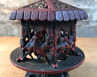 Vintage Iron Carousel Coin Bank