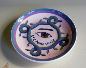 eye and vine china plate hand painted reworked