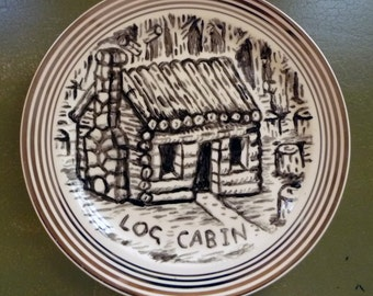 log cabin china plate hand painted