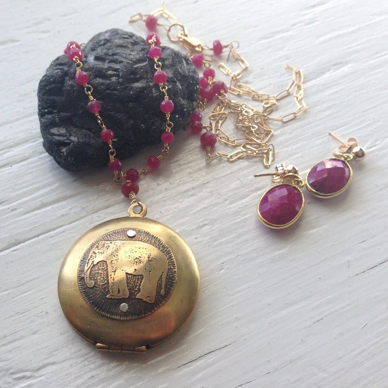 Elephant Locket in Gold and Ruby Rosary Style Necklace 36 in