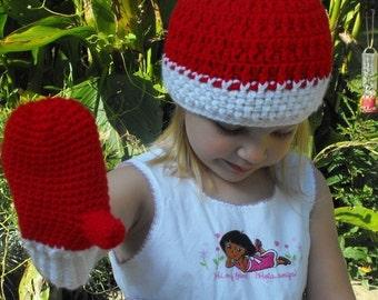 Hand Crochet  Children's or Toddler Hat and Mitten Set