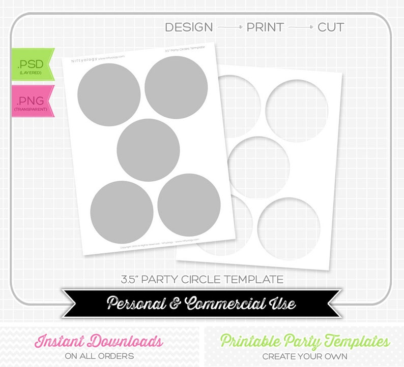 3 5 Inch Party Circle Template Instant Download Diy Party Etsy