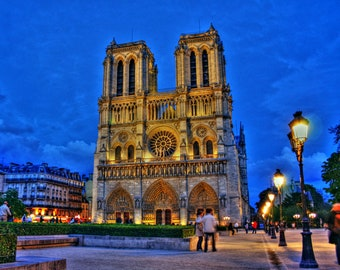 Notre Dame at Night, Paris, France - Fine Art Print