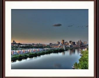 St. Paul, MN Riverfront Skyline - Fine Art Print