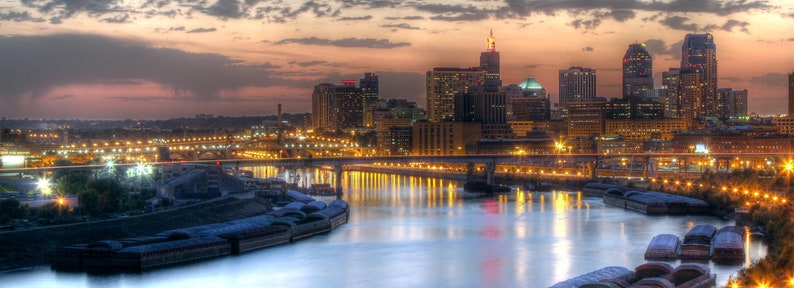 St. Paul MN Skyline at Sunset Panorama  Fine Art Print image 0