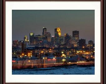 Minneapolis, MN Winter Skyline - Fine Art Print