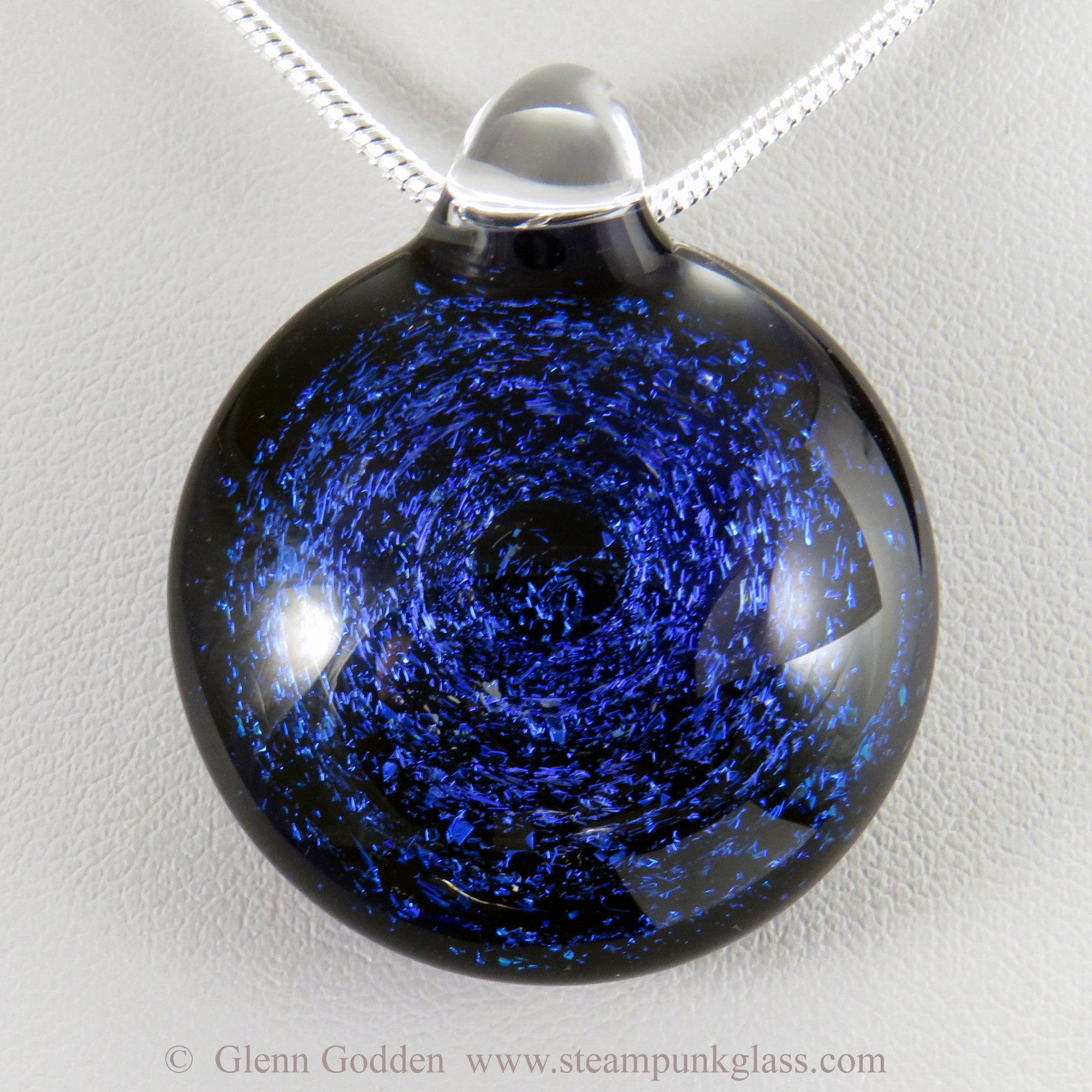 Blue Star Pendant Necklace Glass Pendant Galaxy Glass Pendant Necklace Unique Gift
