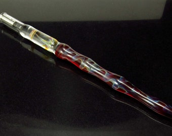 Jellyfish glass dip pen in ruby red silver luster - unique gifts for him - glass calligraphy & drawing fountain pen - sea gifts